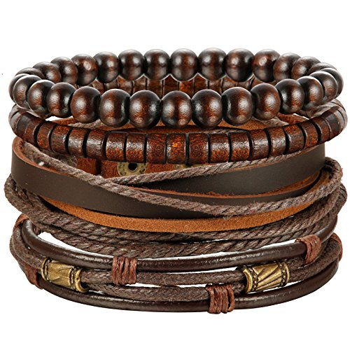 Jstyle 4Pcs Braided Leather Bracelet for Women Mens Cuff Bead Bracelet Set Adjustable Brown