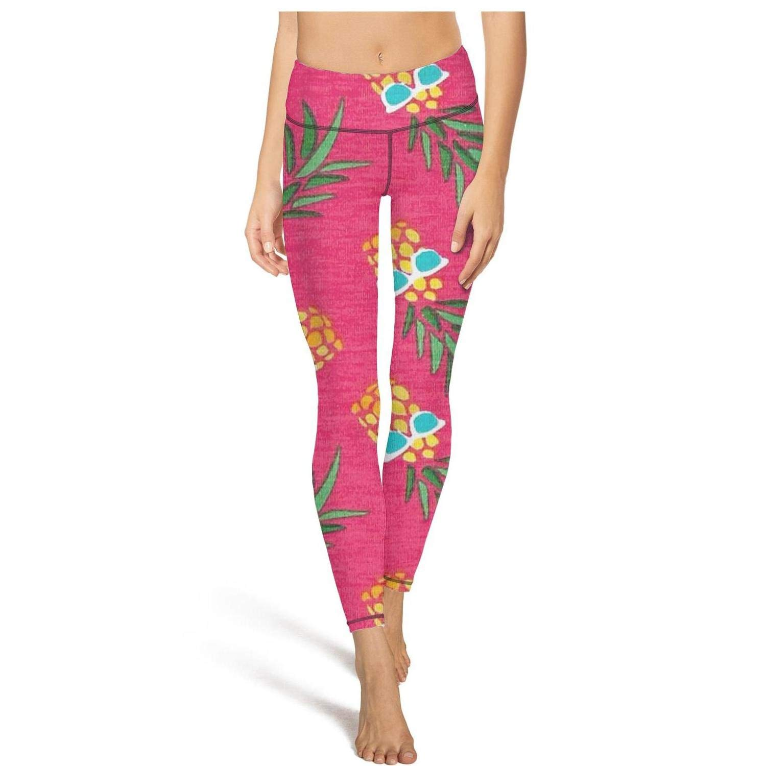 Hamily Broderei Women's Yoga Leggings Pineapples with Glasses Pink Exercise Workout Pants Gym Tights