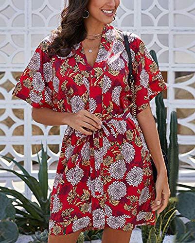 Biucly Women's Stylish Floral Printed V Neck Tie Waist Mini Skater Half Sleeve T Shirt Kimono Casual Summer Dress S-XL