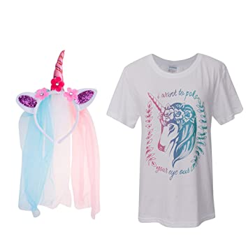 MagiDeal Las Mujeres De Las Niñas Unicornio Camiseta Tops Camiseta M Rose Flor Velo De La