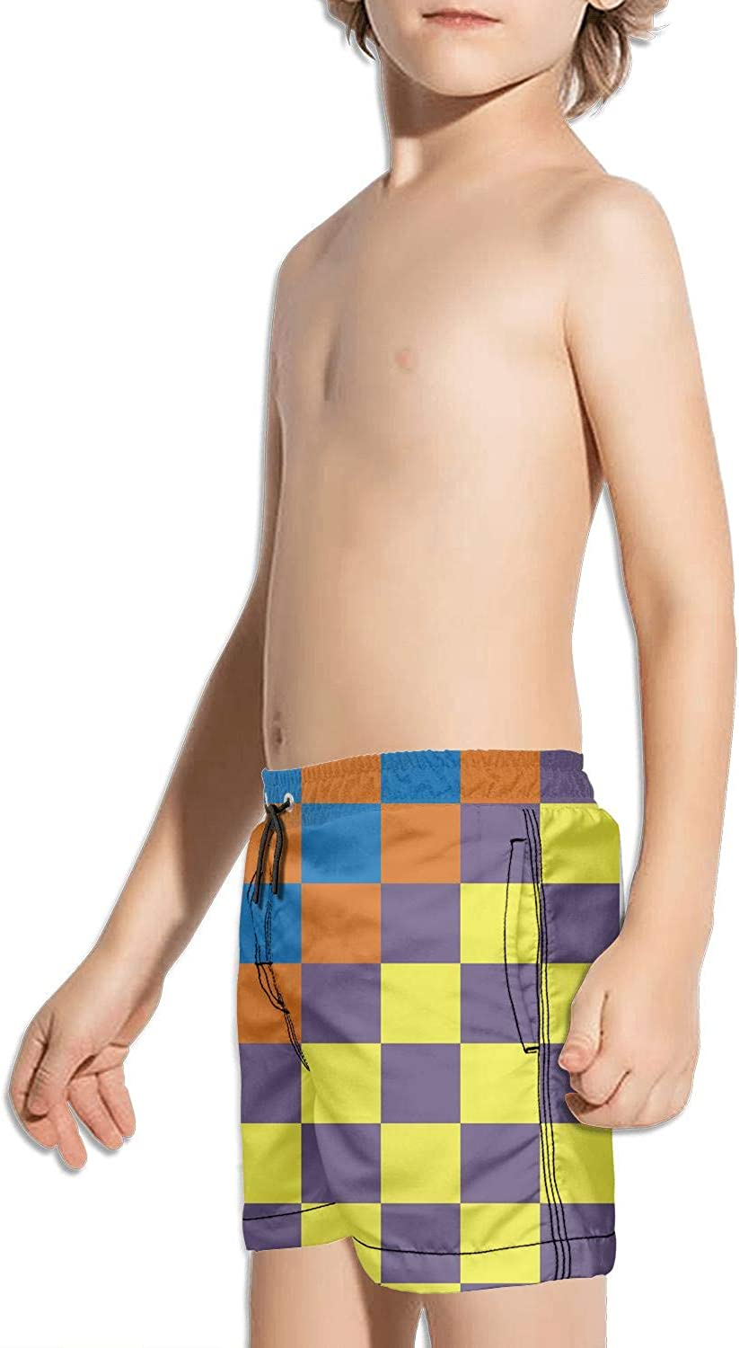 FullBo Checkerboard Abstract Colorful Square Little Boys Short Swim Trunks Quick Dry Beach Shorts