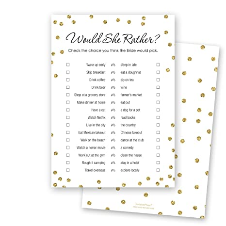 photo relating to Would She Rather Bridal Shower Game Free Printable identified as 24 cnt Would She Alternatively Bridal Shower Activity (Bogus Gold upon White)