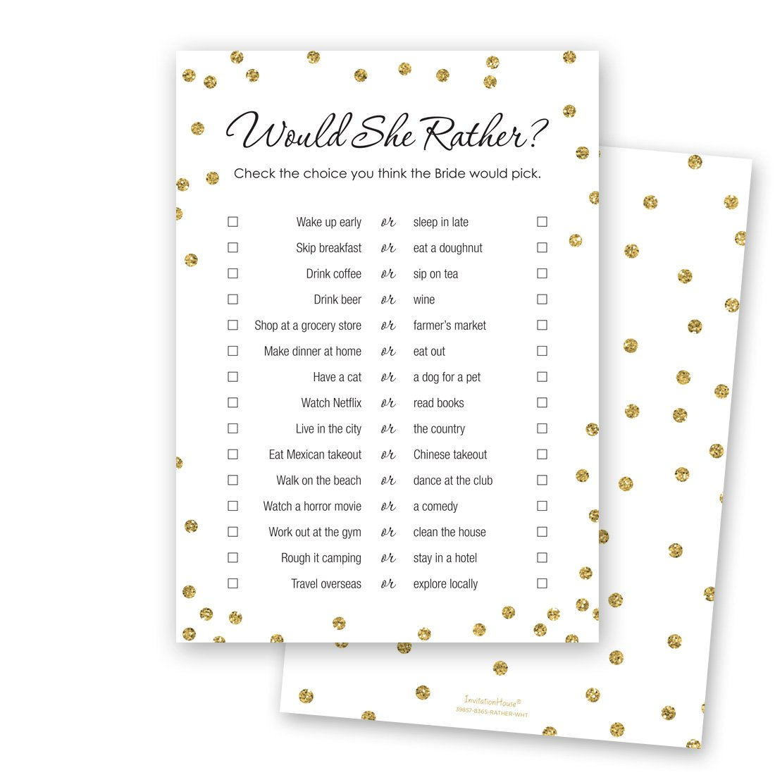 24 cnt Would She Rather Bridal Shower Game (Faux Gold on White)