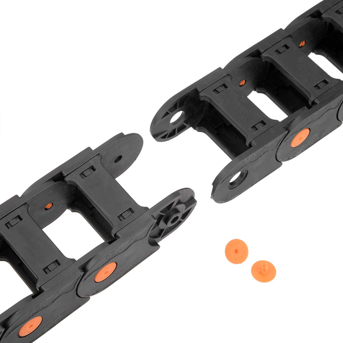 uxcell Drag Chain Cable Carrier Closed Type with End Connectors R100 35X50mm 1 Meter Plastic for Electrical CNC Router Machines Black