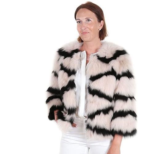Chaqueta de pelo de zorro natural piel auténtica mujer abrigo EYES ON MISHA otoño invierno, fiesta, beige, nude, negra, talla S/M: Amazon.es: Zapatos y ...