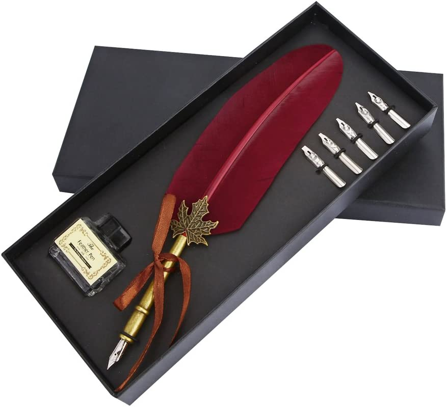 VABNEER Quill Pen Feather Pen Ink Pen Feather Calligraphy Pen Set Writing Quill