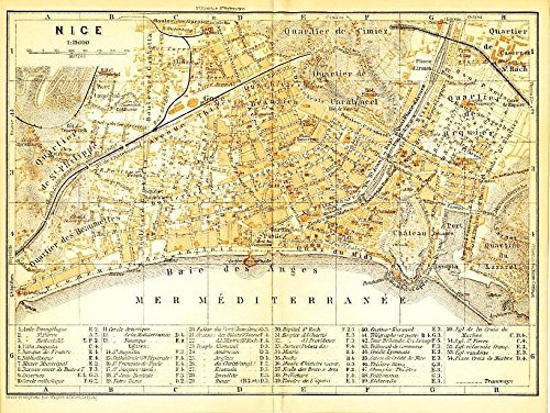 Amazon Com Nice France 1913 Detailed Antique City Plan Map