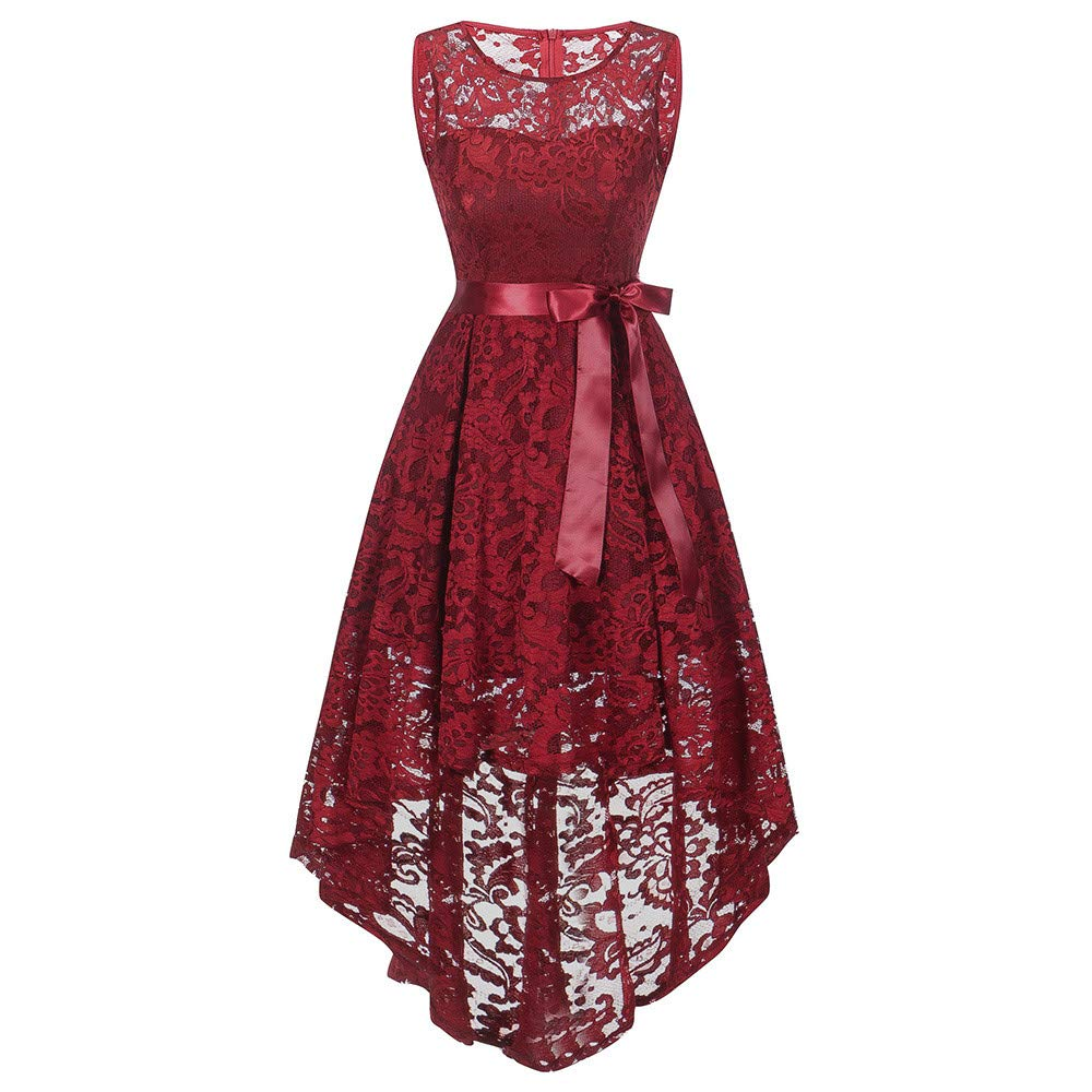 ZHENBAO Women's Floral Lace Short Bridesmaid Dress Vintage Sleeveless Party Dress Red