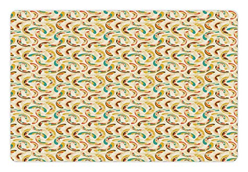Ambesonne Abstract Pet Mat for Food and Water, Different Shapes Ellipses Swirls and Curls Colorful Design Filigree Ornamental, Rectangle Non-Slip Rubber Mat for Dogs and Cats, Multicolor ()