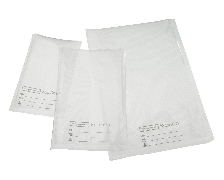 Hamilton Beach Commercial HVBX1200 NutriFresh Vacuum Sealer Bags, 11 x 16, 3Mil, Clear (Pack of 100)