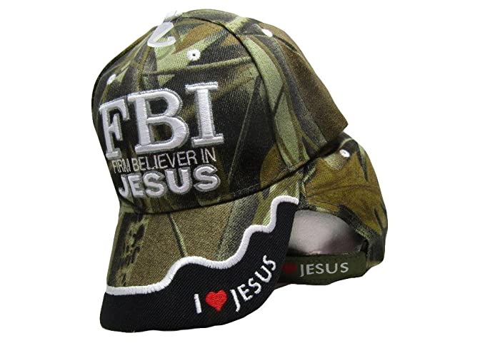d50a4c85 AES FBI Firm Believer in Jesus Christ Christian Camo Camouflage Embroidered  Cap Hat