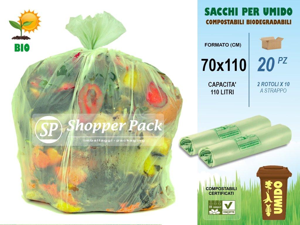 SACCHI PER RACCOLTA UMIDO-ORGANICO GRANDI Compostabili da 110 litri - Cm 70x110 - N° 20 sacchetti (2 rotoli x 10) COMPOSTABILI BIODEGRADABILI per Raccolta Differenziata dei Rifiuti Umidi-Organici Cplas