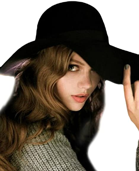 05100ae4dc6 Urban CoCo Women s Foldable Wide Brim Felt Bowler Fedora Floopy Wool Hat