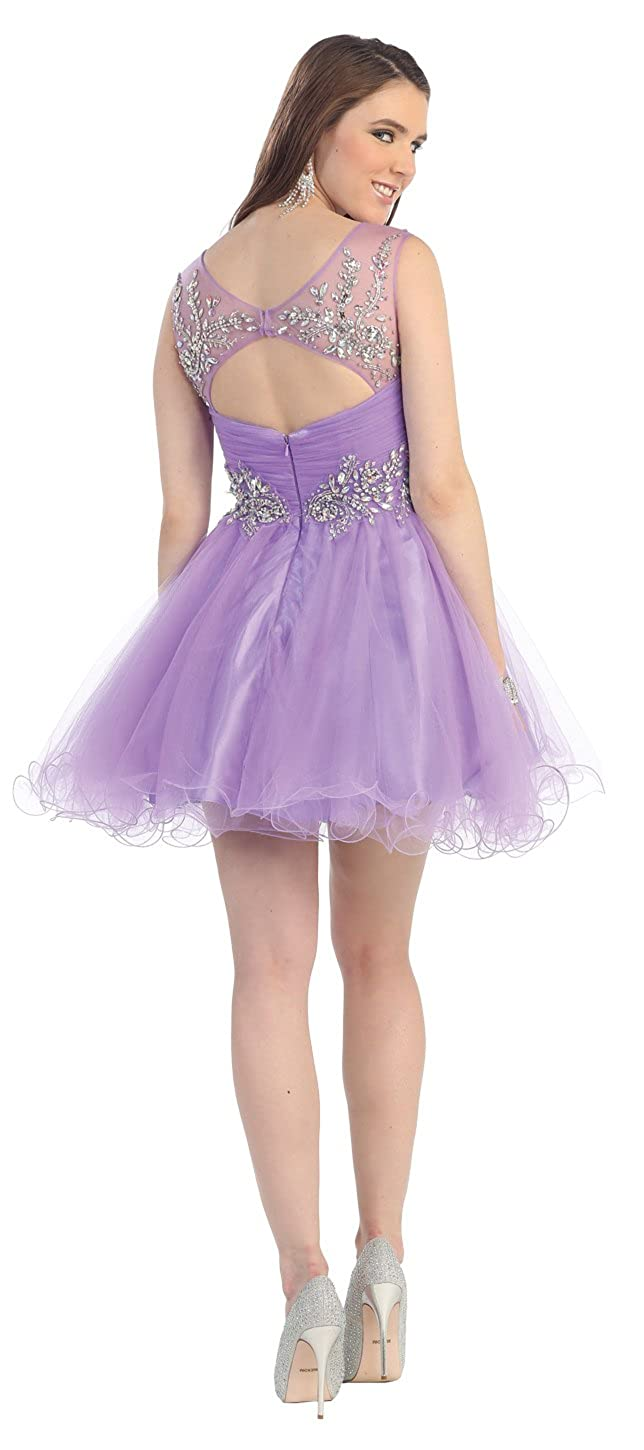 US Fairytailes Cocktail Party Sheer Junior Prom Dress #21090