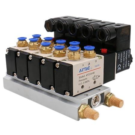 5 Port 2 Position /& Connector Silencer 4V210-08 DC 12V Solenoid Pneumatic Valve