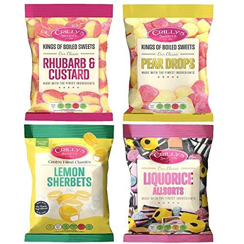 (4 Pack) Crillys Rhubarb & Custard/Lemon Sherbet/Liquorice/Pear Drops (130g each)