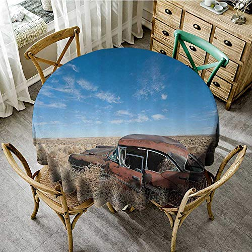 familytaste Print Tablecloth Waterproof Cars Decor Collection,Old Rustic Rusty Automobile in The Middle of New Mexico Bushes Ghost Town Vehicle Theme Print,Tan Blue D 70