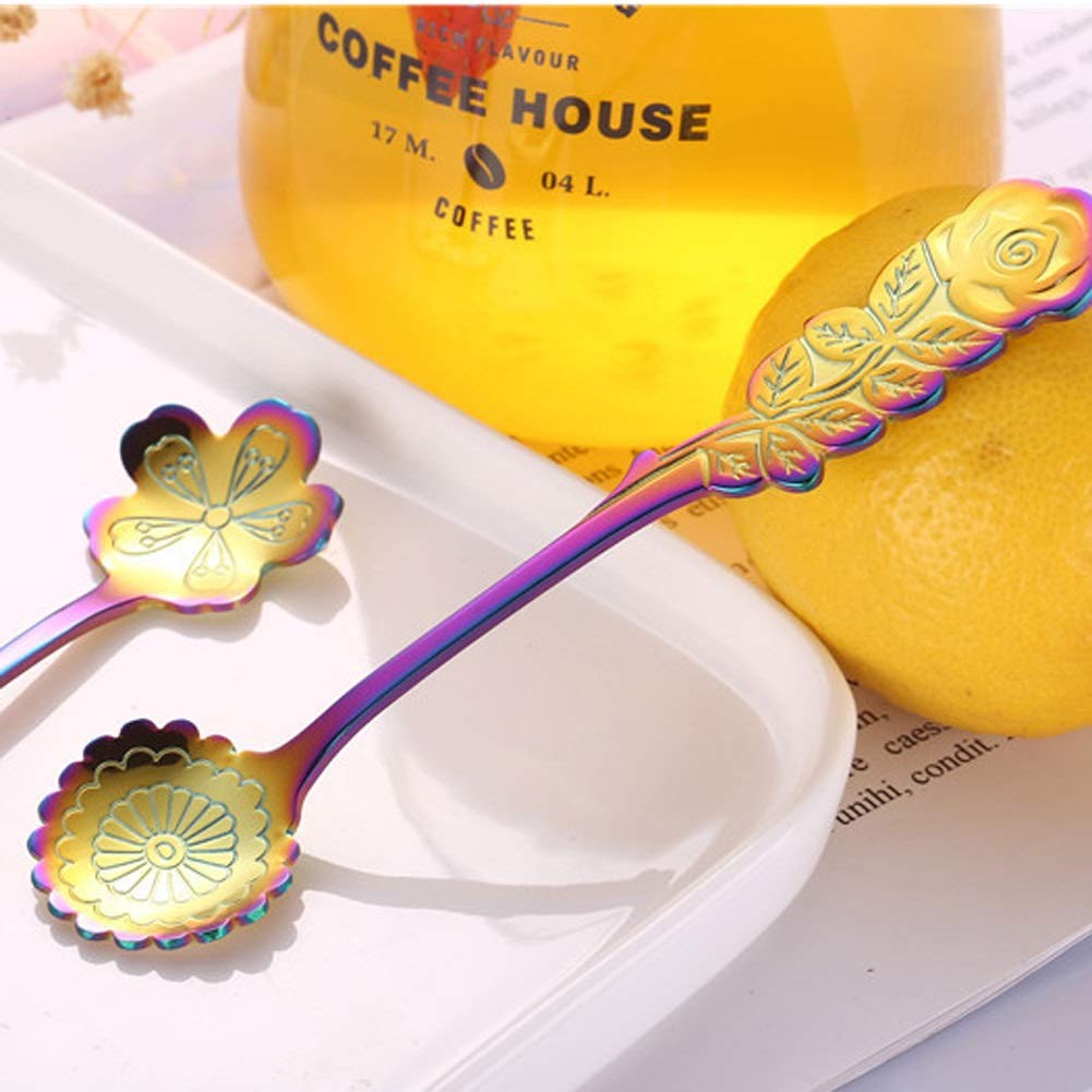 WDNMD Food-Grade Stainless Steel Serving Spoon Carved Flower Shape Kitchen Dining Utensils Long Handle Coffee Spoon Mirror Polish Tea Spoon YH-49 (Brilliant) by WDNMD (Image #7)