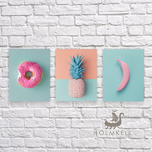 Holmkell Tropical Pink Minimalist Art -3 Prints Set- Pastel Wall Decor 8 x 10 Inches Modern Donut Banana and Pineapple Small Unframed Posters
