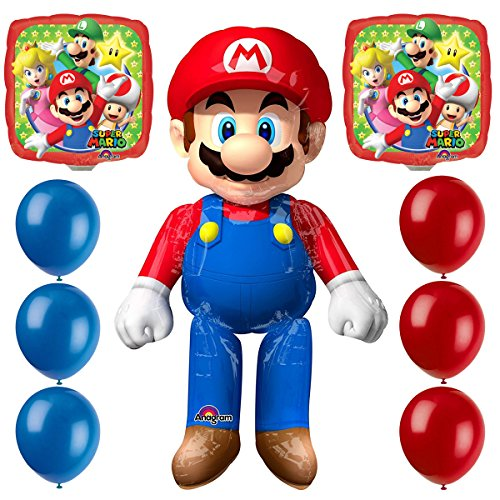 Mario Air Walker Balloon By Anagram and 12-inch Red and Blue Pixiss Balloons Bundle, Super Mario Bros Airwalker Mario for $<!--$19.96-->