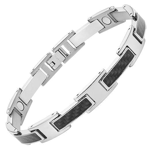 595f52451e77b Mens Black Carbon Fiber Titanium Magnetic Bracelet 8.5