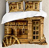 Western Decor Queen Size Duvet Cover Set by Ambesonne, Ancient old Wagon Wheel next to a Rustic Wooden Wild West House Window and Retro Buckets, Decorative 3 Piece Bedding Set with 2 Pillow Shams