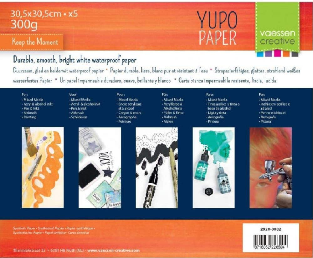 Bloc papier Yupo Blanc 30,5x30,5cm de Vaessen Creative 5 pcs