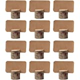 AmaJOY 12 pack Vintage Wedding Wooden Place Card Holders with 12 pcs Kraft Place Cards Table Number Stands for Home Party Decoration Birthday Party Business Party Decor