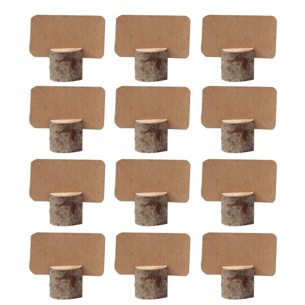 AmaJOY 12 pack Vintage Wedding place wooden card holders with 12 pcs Kraft Place Cards Table Number Stands for Home Party Decoration Birthday Party Business Party Decor