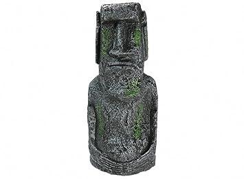 Adorno para acuario, diseño de cabeza de la isla de Pascua, pecera, paisaje, decoración, accesorios de decoración: Amazon.es: Productos para mascotas