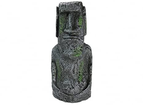 Adorno para acuario, diseño de cabeza de la isla de Pascua, pecera, paisaje