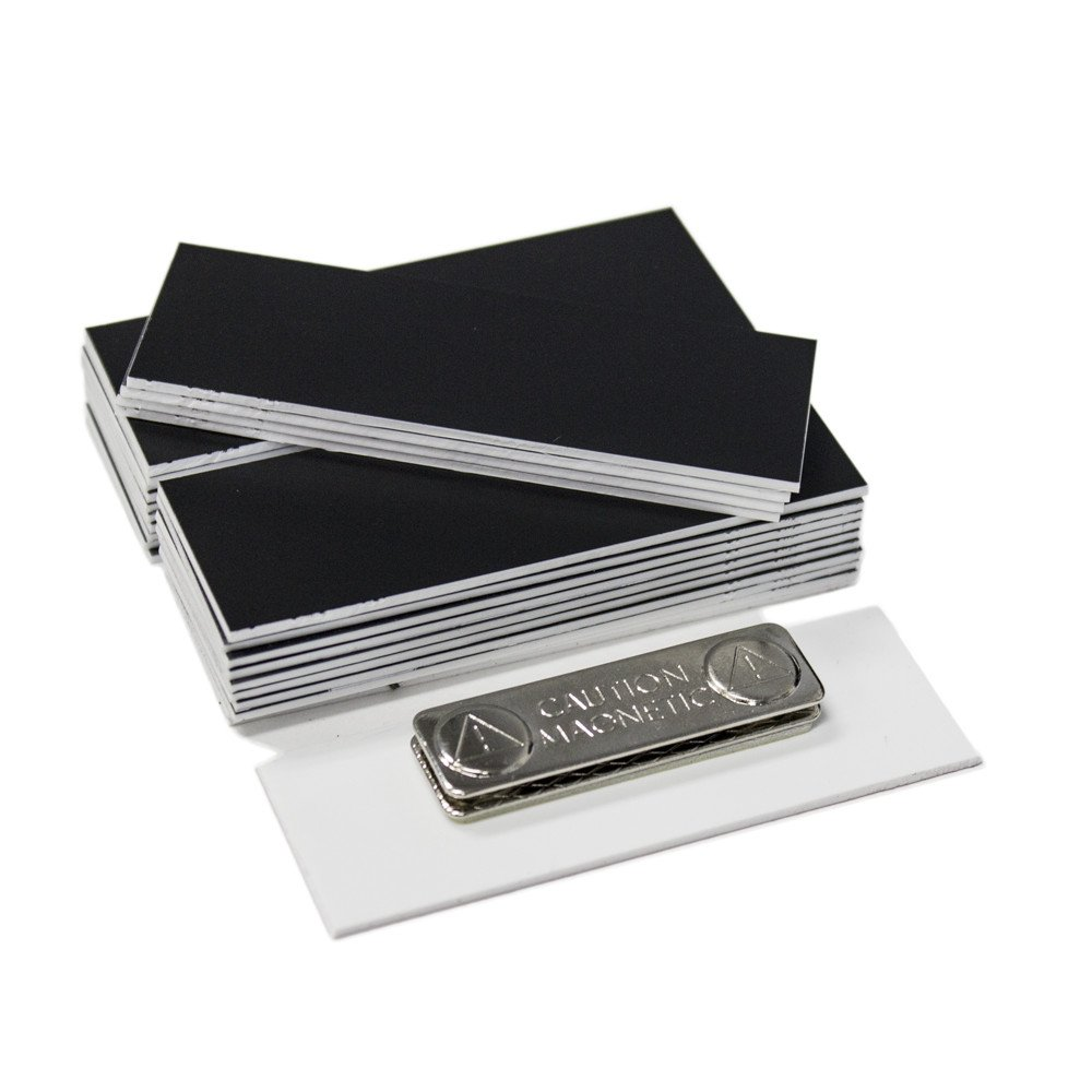 Name Badge Blanks with Magnetic Backing - 25 Pack Black 1'' X 3''