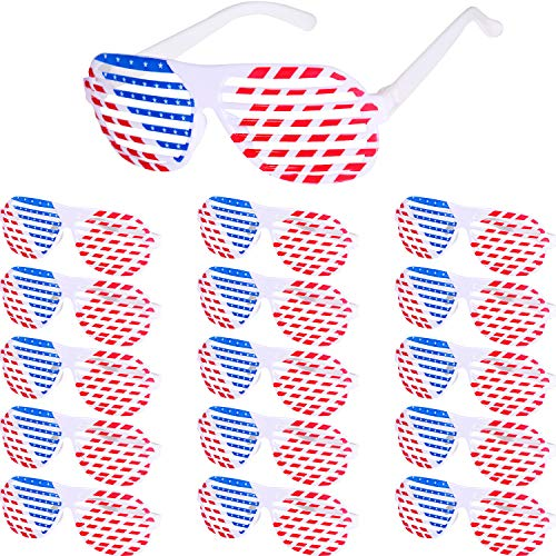 16 Pieces American Flag Sunglasses Patriotic Shutter Glasses Patriotic Shade Glasses for Independence Day Props Accessories