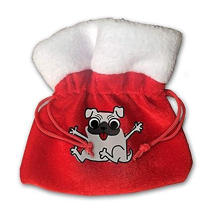 51827e9b4ebf2 OHMYCOLOR Funny Pug Dog Animal Clipart Christmas Drawstring Gift Bags Candy Santa  Sack Bag for Xmas
