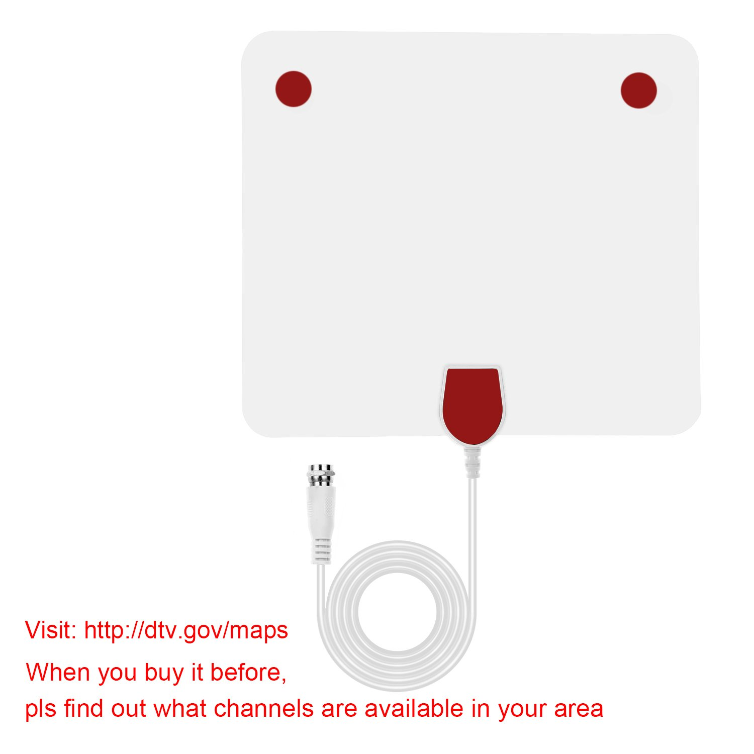 HDTV Antenna,WAAO TV Antenna 50 Mile Range with Detachable Amplifier Signal Booster Upgraded Version, USB power supply and 10ft Coax Cable supports 1080p Full HD(white)