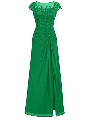 BOWITH Simple Long Evening Dresses Chiffon Prom Dress Gown