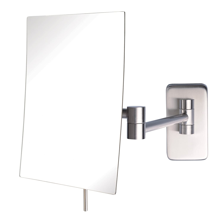 Jerdon JRT695N 6.5-Inch by 8.5-Inch Wall Mount Rectangular Makeup Mirror, Nickel Finish