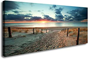 Canvas Wall Art Beach Sunset Ocean Nature Pictures Long Canvas Artwork Prints Contemporary 24in x48in Wall Art Decor for Home Living Room Bedroom Decoration Office Wall Decor Framed Ready to Hang …
