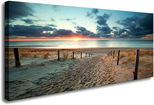 Large Wall Art Beach Sunset Ocean Nature Pictures Long Canvas Artwork Prints Contemporary 30in x60in Wall Art Decor