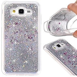 Galaxy J7 (2015) Case, A-slim Galaxy J7 Liquid Glitter Case, Beauty Luxury Shiny Bling Flowing Liquid Floating Sparkle Heart Glitter Soft Case for Samsung Galaxy J7 / J700 - Sliver
