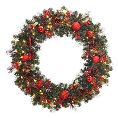 48 in. Battery Operated Red Accented Artificial Wreath with 60 Clear LED Lights by Generic (Image #1)