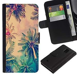 WINCASE (No Para S5) Cuadro Funda Voltear Cuero Ranura Tarjetas TPU Carcasas Protectora Cover Case Para Samsung Galaxy S5 Mini, SM-G800 - Jamaica palma de coco árbol de verano