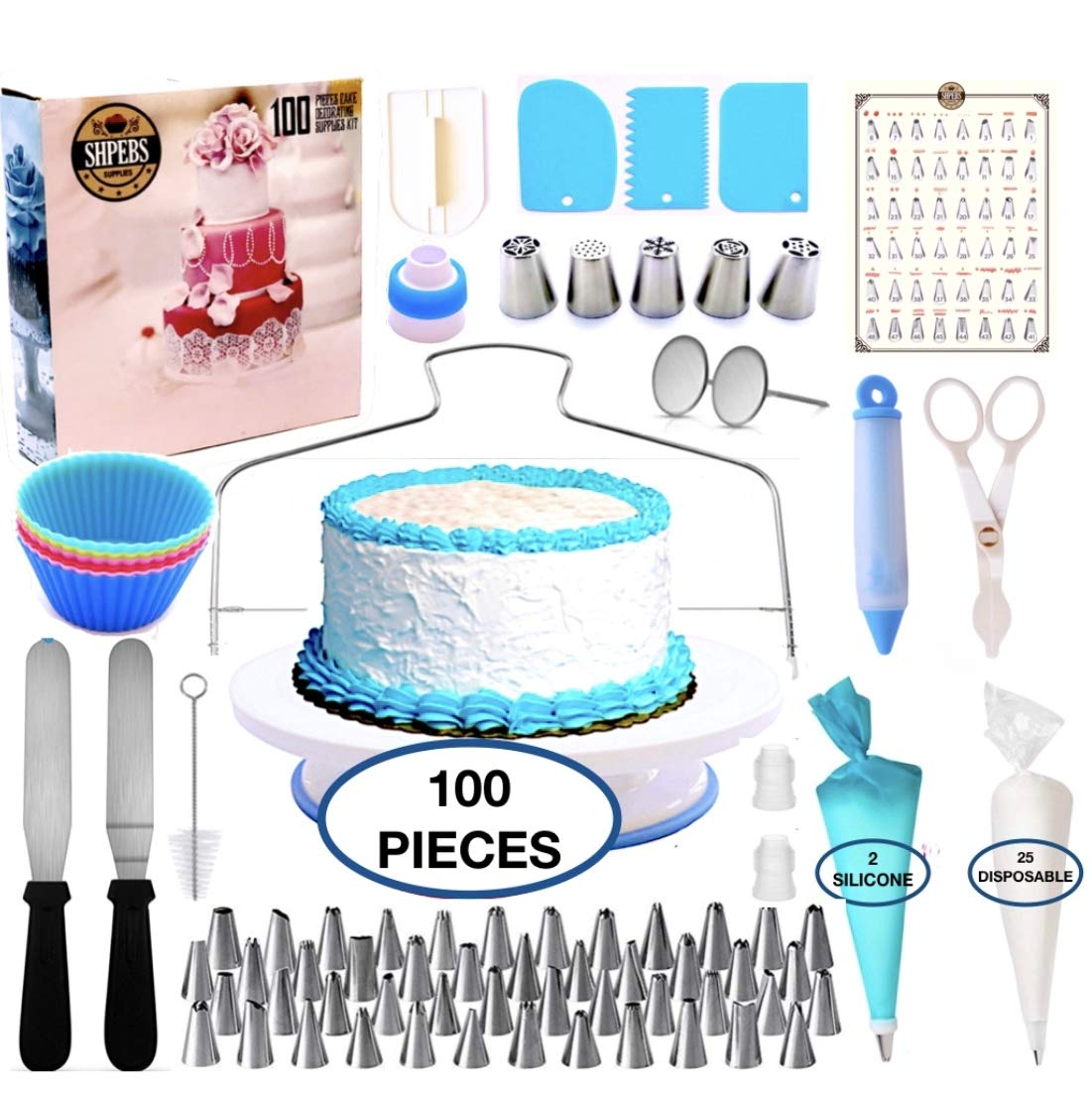 Cake Decorating Supplies-100 pcs Kit, Baking Set | Nonslip Rotating Turntable stand | 48 easy to use Numbered Tips with Pattern chart |piping Bags-Pastry and Icing Frosting Tools-Russian Nozzles