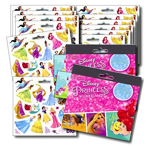 DISNEY PRINCESS Stickers Party Favors - Bundle of 12 Sheets 240+ Stickers plus 2 Specialty Stickers!