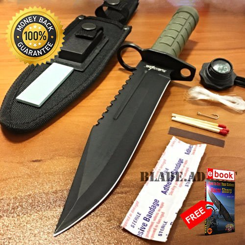 12'' Tactical Hunting Army Rambo Fixed Blade Knife Machete Bowie Survival Kit For Hunting Tactical Camping Cosplay + eBOOK by MOON (12' Machete)