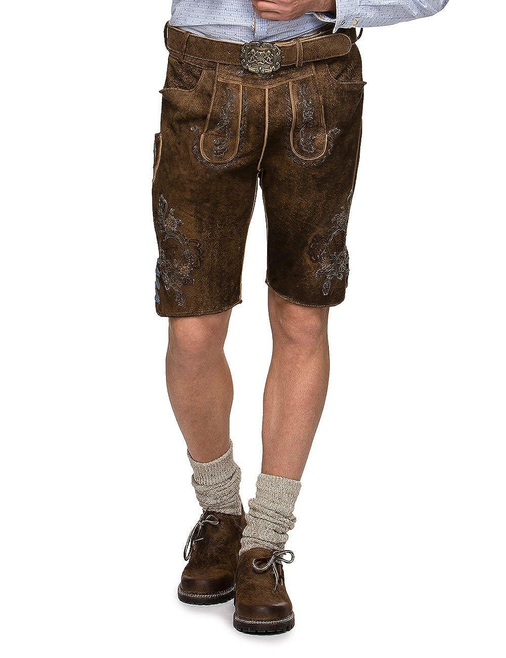 brown (Biber blue) W52 Stockerpoint Men's Hose Aron Traditional Costume Lederhose