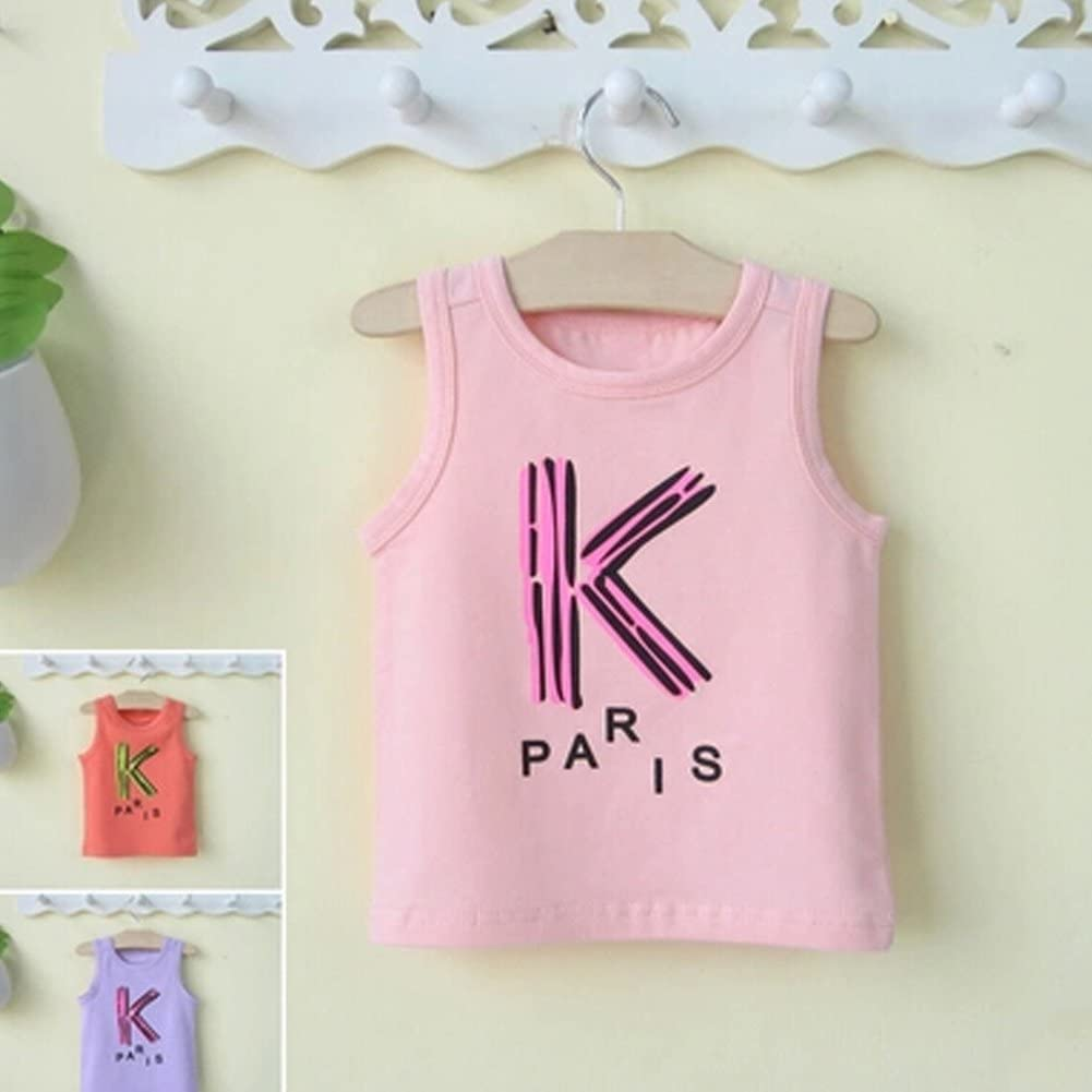 Baby Girls Cotton Clothes Sleeveless Summer Vest with Big K,Pink
