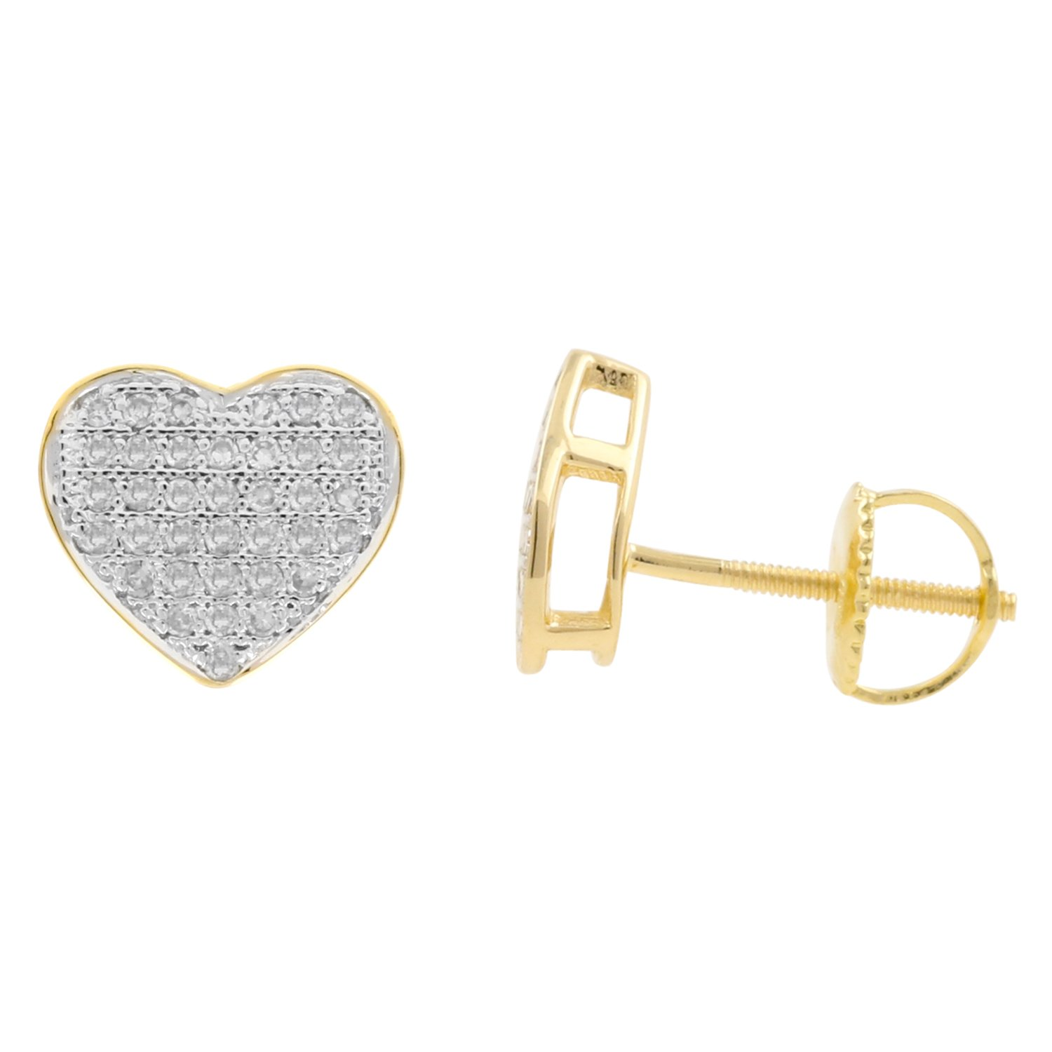 0.25ct Diamond Heart Shape Mens Iced Stud Earrings in 10kt Yellow Gold-1//4 CTTW H-I, I1-I2
