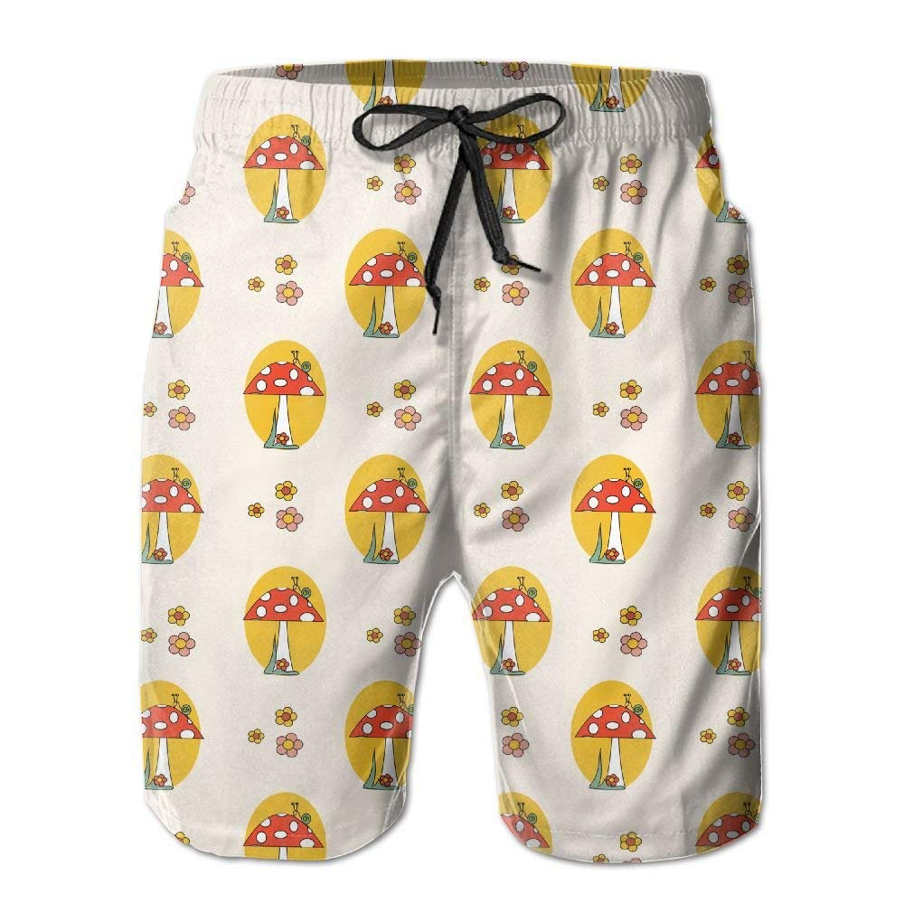 Mens Snails Mushrooms Flowers Summer Holiday Swim Trunks Beach Shorts Board Shorts