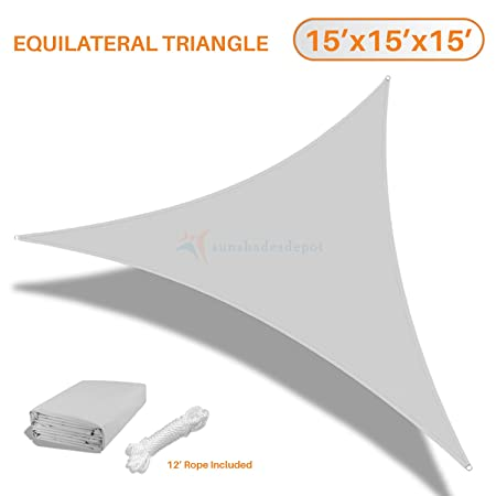 Sunshades Depot 15 x15 x15 Equilateral Triangle Waterproof Knitted Shade Sail Curved Edge Light Gray Light Grey 220 GSM UV Block Shade Fabric Pergola CarportCanopy Replacement Awning